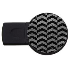 Chevron2 Black Marble & Gray Leather Usb Flash Drive Round (2 Gb) by trendistuff
