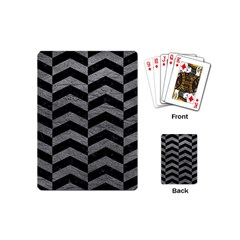 Chevron2 Black Marble & Gray Leather Playing Cards (mini)  by trendistuff