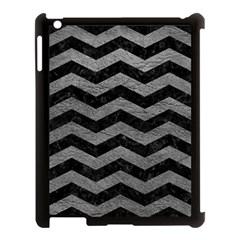 Chevron3 Black Marble & Gray Leather Apple Ipad 3/4 Case (black) by trendistuff