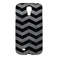 Chevron3 Black Marble & Gray Leather Samsung Galaxy S4 I9500/i9505 Hardshell Case by trendistuff