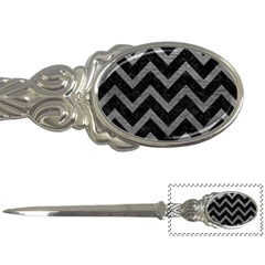 Chevron9 Black Marble & Gray Leather Letter Openers by trendistuff