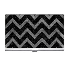 Chevron9 Black Marble & Gray Leather Business Card Holders