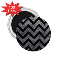 Chevron9 Black Marble & Gray Leather (r) 2 25  Magnets (100 Pack)  by trendistuff