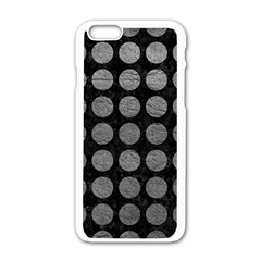 Circles1 Black Marble & Gray Leather Apple Iphone 6/6s White Enamel Case by trendistuff
