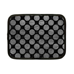 Circles2 Black Marble & Gray Leather Netbook Case (small)