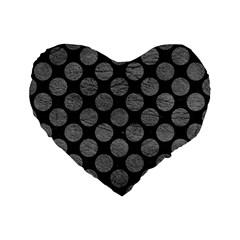 Circles2 Black Marble & Gray Leather Standard 16  Premium Flano Heart Shape Cushions by trendistuff