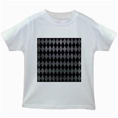Diamond1 Black Marble & Gray Leather Kids White T Shirts