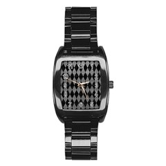 Diamond1 Black Marble & Gray Leather Stainless Steel Barrel Watch by trendistuff