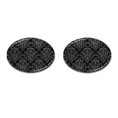 Damask1 Black Marble & Gray Leather Cufflinks (oval) by trendistuff