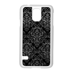 Damask1 Black Marble & Gray Leather Samsung Galaxy S5 Case (white) by trendistuff