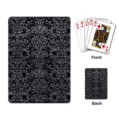 Damask2 Black Marble & Gray Leather Playing Card by trendistuff
