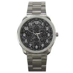 Damask2 Black Marble & Gray Leather (r) Sport Metal Watch by trendistuff