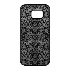 Damask2 Black Marble & Gray Leather (r) Samsung Galaxy S7 Edge Black Seamless Case by trendistuff