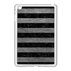 Stripes2 Black Marble & Gray Leather Apple Ipad Mini Case (white) by trendistuff