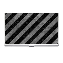 Stripes3 Black Marble & Gray Leather Business Card Holders