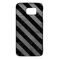 Stripes3 Black Marble & Gray Leather (r) Galaxy S6 by trendistuff