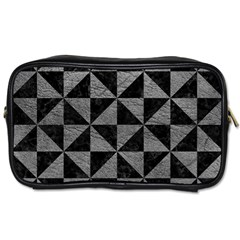 Triangle1 Black Marble & Gray Leather Toiletries Bags