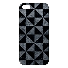 Triangle1 Black Marble & Gray Leather Apple Iphone 5 Premium Hardshell Case