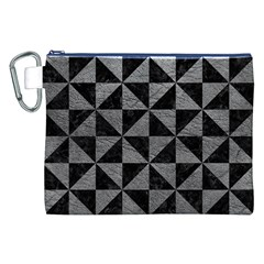 Triangle1 Black Marble & Gray Leather Canvas Cosmetic Bag (xxl) by trendistuff
