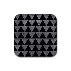 Triangle2 Black Marble & Gray Leather Rubber Square Coaster (4 Pack)  by trendistuff