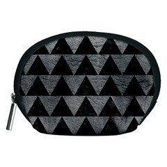 Triangle2 Black Marble & Gray Leather Accessory Pouches (medium)  by trendistuff
