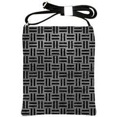 Woven1 Black Marble & Gray Leather (r) Shoulder Sling Bags by trendistuff