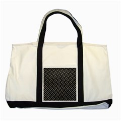 Woven2 Black Marble & Gray Leather Two Tone Tote Bag by trendistuff