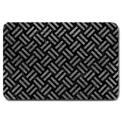 Woven2 Black Marble & Gray Leather Large Doormat  by trendistuff