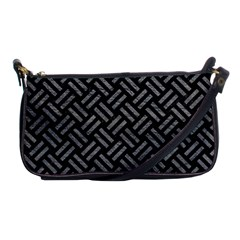 Woven2 Black Marble & Gray Leather Shoulder Clutch Bags by trendistuff