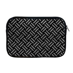 Woven2 Black Marble & Gray Leather Apple Macbook Pro 17  Zipper Case by trendistuff