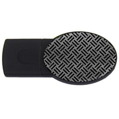 Woven2 Black Marble & Gray Leather (r) Usb Flash Drive Oval (4 Gb) by trendistuff