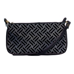 Woven2 Black Marble & Gray Leather (r) Shoulder Clutch Bags by trendistuff