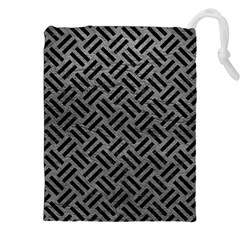 Woven2 Black Marble & Gray Leather (r) Drawstring Pouches (xxl) by trendistuff