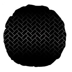 Brick2 Black Marble & Gray Metal 1 Large 18  Premium Flano Round Cushions by trendistuff