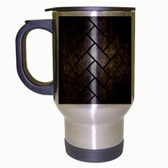 Brick2 Black Marble & Gray Metal 1 (r) Travel Mug (silver Gray) by trendistuff