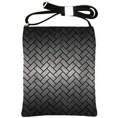 Brick2 Black Marble & Gray Metal 1 (r) Shoulder Sling Bags by trendistuff