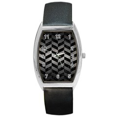 Chevron1 Black Marble & Gray Metal 1 Barrel Style Metal Watch by trendistuff