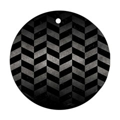 Chevron1 Black Marble & Gray Metal 1 Round Ornament (two Sides) by trendistuff