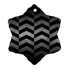 Chevron2 Black Marble & Gray Metal 1 Ornament (snowflake) by trendistuff