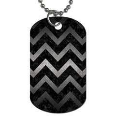 Chevron9 Black Marble & Gray Metal 1 Dog Tag (two Sides) by trendistuff