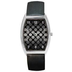 Circles2 Black Marble & Gray Metal 1 Barrel Style Metal Watch by trendistuff
