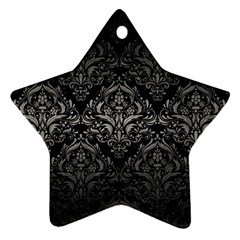 Damask1 Black Marble & Gray Metal 1 Ornament (star) by trendistuff