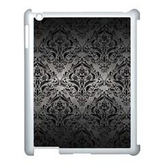 Damask1 Black Marble & Gray Metal 1 (r) Apple Ipad 3/4 Case (white) by trendistuff