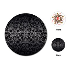 Damask2 Black Marble & Gray Metal 1 Playing Cards (round)  by trendistuff