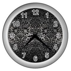 Damask2 Black Marble & Gray Metal 1 (r) Wall Clocks (silver)  by trendistuff