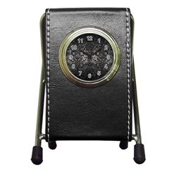 Damask2 Black Marble & Gray Metal 1 (r) Pen Holder Desk Clocks by trendistuff