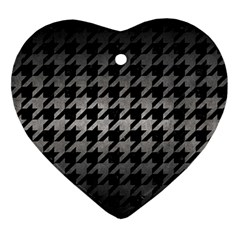 Houndstooth1 Black Marble & Gray Metal 1 Ornament (heart) by trendistuff