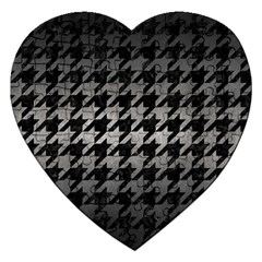 Houndstooth1 Black Marble & Gray Metal 1 Jigsaw Puzzle (heart) by trendistuff
