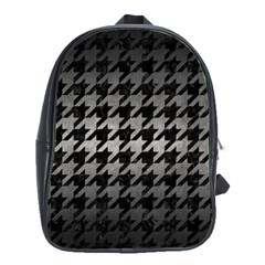 Houndstooth1 Black Marble & Gray Metal 1 School Bag (large)