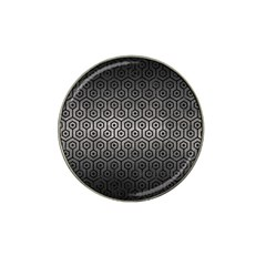 Hexagon1 Black Marble & Gray Metal 1 (r) Hat Clip Ball Marker by trendistuff